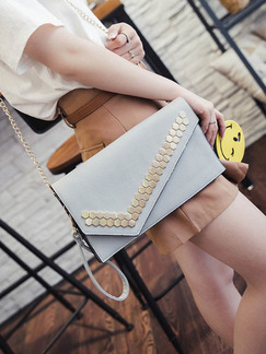 Grey Leatherette Evening Chain Handle Shoulder Clutch Crossbody Purse Bag  On Sale