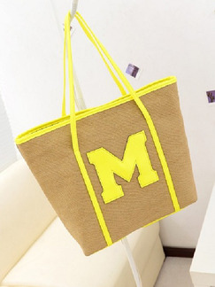 Brown Yellow Canvas Shopping Shoulder Tote Bag On Sale