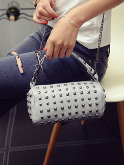 Grey Leatherette Chain Handle Beaded Shoulder Hand Bag On Sale