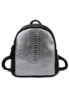 Silver Black Leatherette Metallic Backpack Bag