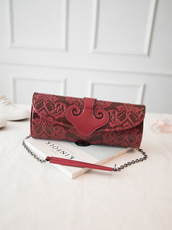 Red Leatherette Chain Handle Shoulder Crossbody Purse Clutch Bag  On Sale