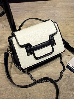 White and Black Leatherette Chain Handle Shoulder Hand Crossbody Bag On Sale