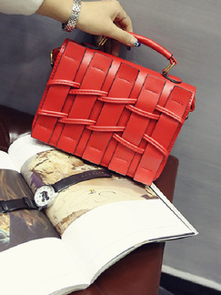Red Leatherette Hand Bag On Sale