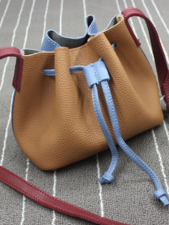 Brown Red and Blue Leatherette Drawstring Shoulder Crossbody Bag On Sale