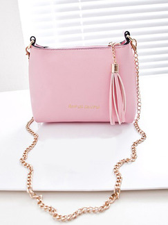 Pink Leatherette Cute Chain Handle Shoulder Crossbody Bag