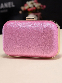Pink Leatherette Chain Handle Cute Evening Shoulder Clutch Purse Bag  On Sale