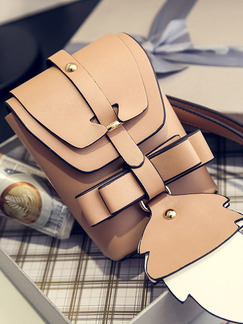 Brown Leatherette Cute Satchel Shoulder Bag On Sale