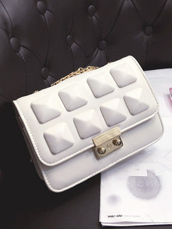 White Leatherette Chain Handle Evening Shoulder Crossbody Bag  On Sale