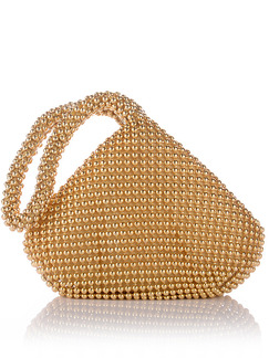 Golden Suede Beaded Evening Hand Bag On Sale