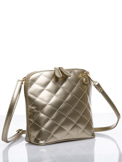 Silver Leatherette Metallic Quilted Shoulder Crossbody Bag