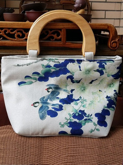 White and Blue Fabric Shopping Beach Tote Hand Bag On Sale