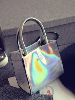 Silver Leatherette Metallic Hand Bag