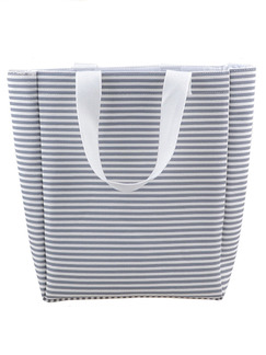 Grey and White Canvas Shopping  Shoulder Hand Tote Bag On Sale