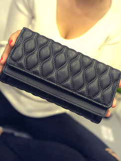 Black Patent Leather Quilted Evening Wallet Bag