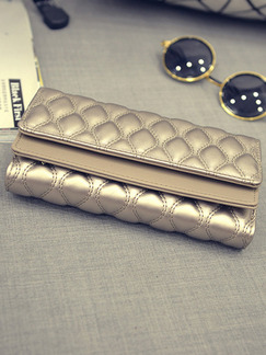 Golden Patent Leather Metallic Quilted Evening Wallet Bag
