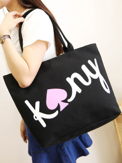Black Canvas Shopping Tote Shoulder Bag