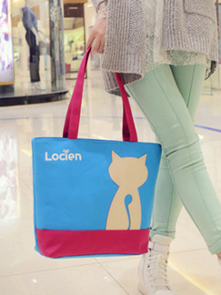 Blue and Pink Canvas Shopping Beach Cute Shoulder Tote Bag