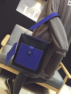 Black and Blue Leatherette  Shoulder Bag