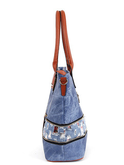 Blue and Brown Leatherette  Tote Shoulder Bag
