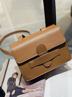 Brown Leatherette  Shoulder Crossbody Satchel Bag