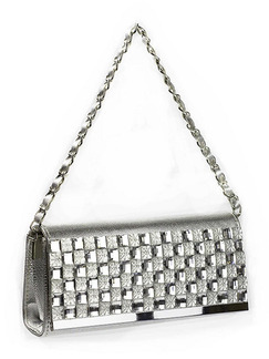 Silver Patent Leather Metallic Chain Handle Clutch Purse Shoulder Bag