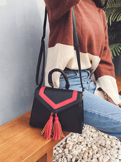 Black and Red Leatherette  Hand Shoulder Crossbody Bag