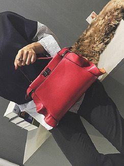 Red Leatherette Evening Hand Bag