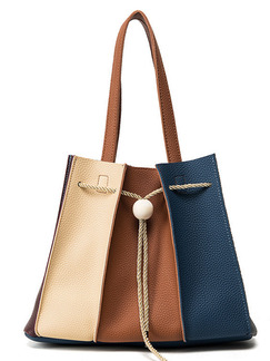 Blue Brown and Cream Leatherette Drawstring Tote Shoulder Bag