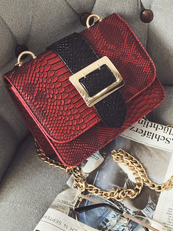 Black and Red Snakeskin Leatherette Chain Handle Shoulder Crossbody Satchel Bag