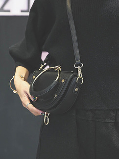 Black Leatherette Evening Hand Shoulder Crossbody Bag