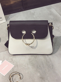 Black and White Leatherette  Shoulder Crossbody Bag