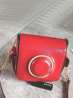 Red Leatherette Chain Handle Shoulder Crossbody Bag