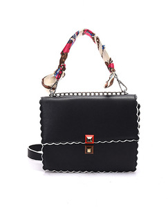 Black Leatherette Chain Handle Hand Shoulder Crossbody Satchel Bag