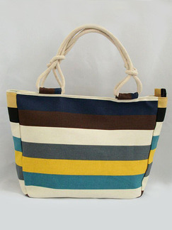 Stripe Colorful Canvas Beach Hand Shoulder Tote Bag