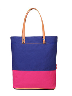 Blue and Pink Canvas Beach Shoulder Tote Bag