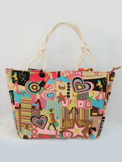 Colorful Canvas Beach Hand Shoulder Tote Bag