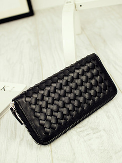 Black Leatherette Quilted Wallet Bag