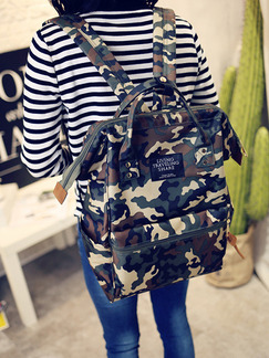 Black and Green Canvas  Hand Backpack Bag