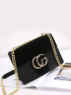 Black Leatherette Chain Handle Evening Shoulder Satchel Bag