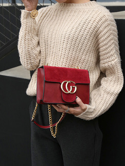 Red Leatherette Chain Handle Evening Shoulder Satchel Bag