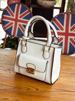 White Leatherette Chain Handle Evening Hand Shoulder Crossbody Bag