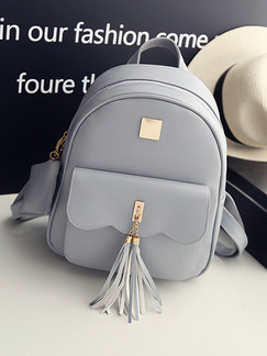 Grey Leatherette Backpack Bag