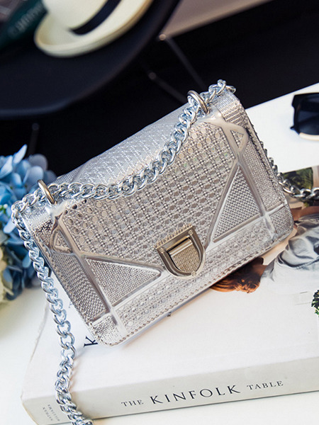 Silver Patent Leather Metallic Chain Handle Evening Shoulder Crossbody Satchel Bag
