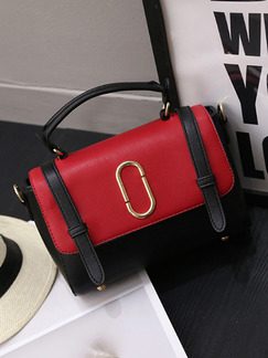 Black and Red Leatherette  Hand Shoulder Crossbody Satchel Bag