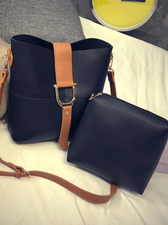 Black and Brown Leatherette  Shoulder Crossbody Bag