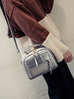 Silver Leatherette Metallic Hand Shoulder Crossbody Bag