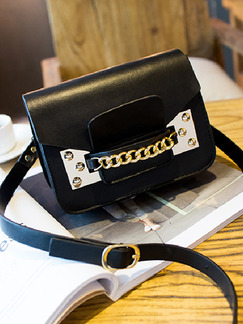 Black Leatherette Evening Shoulder Crossbody Satchel Bag