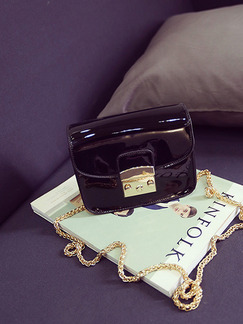 Black Patent Leather Chain Handle Evening Metallic Shoulder Crossbody Satchel Bag