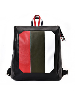 Black White and Red Leather Contrast Stripe Shoulders Backpack Bag
