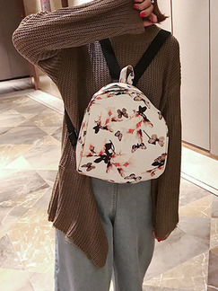 White Colorful Leather Located Printing Shoulders Backpack Bag
